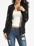 ByChicStyle Casual Band Collar Hollow Out Lace Patchwork Plain Jackets