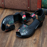 ByChicStyle Casual Flower Print Soft Retro Peep Toe Block Hook Loop Shoes