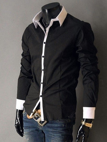 Color Block Patchwork Small Lapel Long Sleeve Men's Shirt - Bychicstyle.com