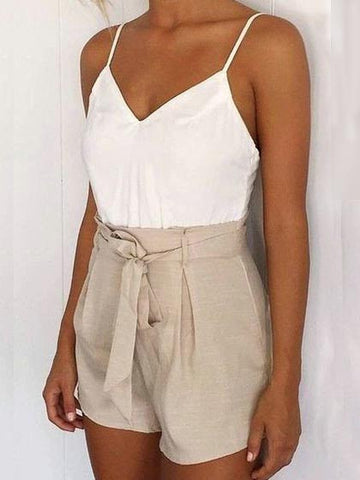 Casual Fashion Halter V neck Open Back Romper