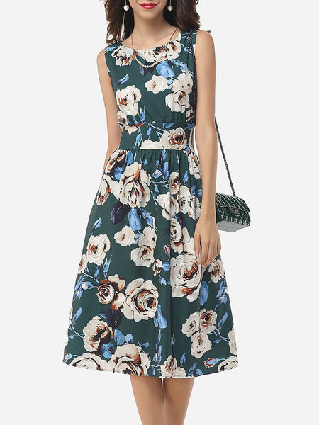 Casual Assorted Colors Floral Printed Zips Elegant Vintage Round Neck Skater-dress