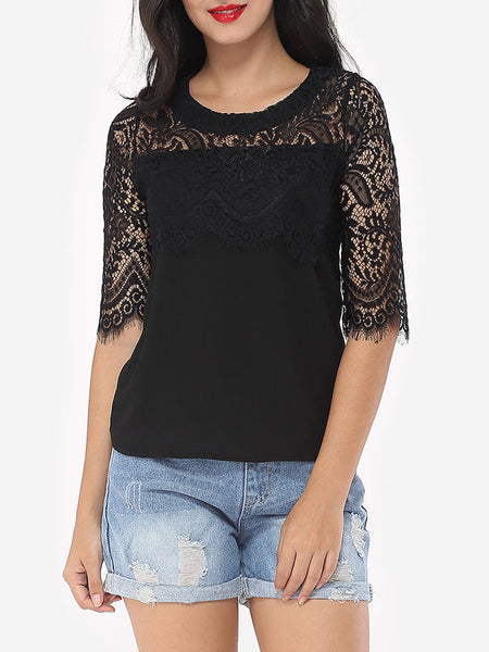 Hollow Out Lace Patchwork Plain Tassel Elegant Round Neck Short-sleeve-t-shirt - Bychicstyle.com