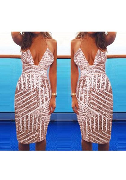 Casual Geometric Sparkly Sequin Deep V-neck Backless Halter Neck NYE Mini Dress