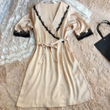 ByChicStyle Casual New Women Patchwork Lace 2-in-1 Belt Mini Dress