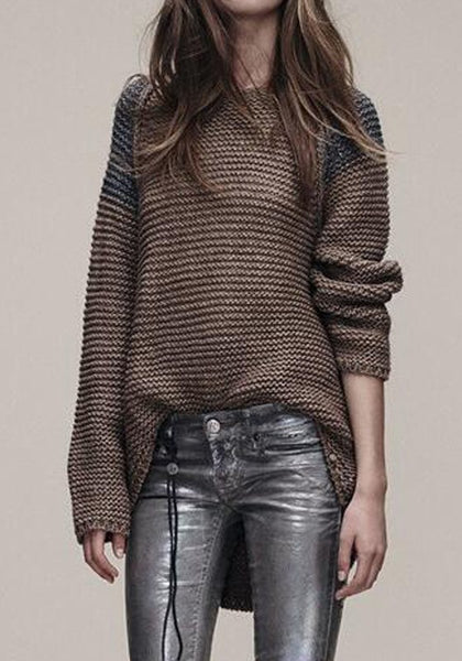 Casual Coffee Plain Irregular Round Neck Fashion Pullover Sweater