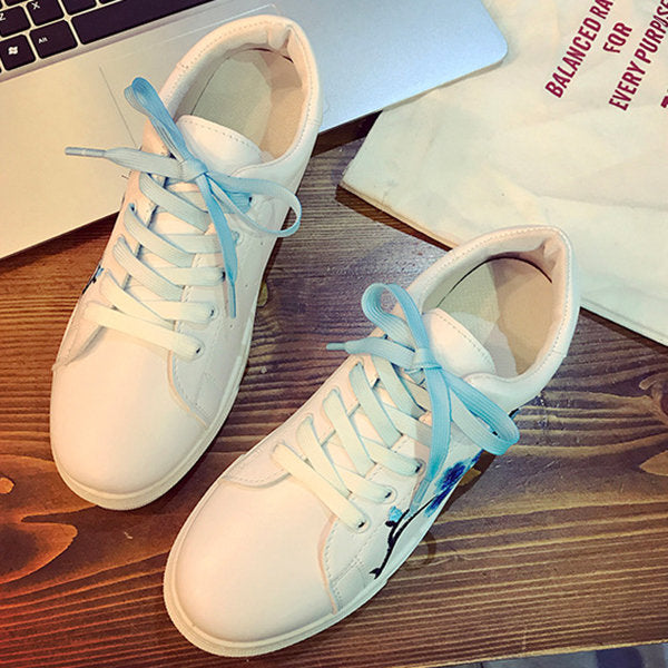 Casual Flower Embroidery White Casual Lace Up Shoes