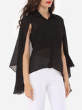 ByChicStyle Casual Plain Cape Sleeve Elegant Button Down Collar Blouse