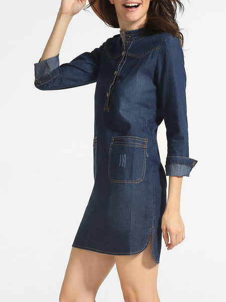 Casual Pockets Band Collar Denim Shift-dress
