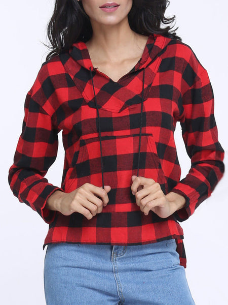 Casual Plaid V Neck Long Sleeve Blouse