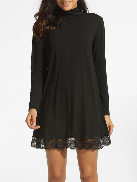 High Neck Hollow Out Lace Plain Shift-dress - Bychicstyle.com