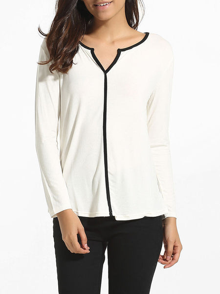 V Neck Cotton Blouse - Bychicstyle.com