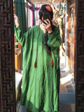 ByChicStyle 100% Linen Manual Embroidered Long Dress