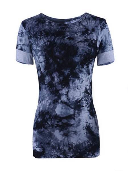 Splash-ink Printed Designed Round Neck Short-sleeve-t-shirt - Bychicstyle.com