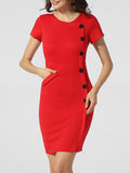 ByChicStyle Round Neck Pockets Decorative Buttons Plain Split Bodycon-dress - Bychicstyle.com