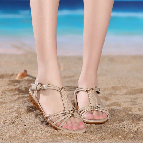 Casual Big Size Knitting Beaded Strappy Buckle Peep Toe Flat Chunky Heel Sandals
