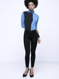 ByChicStyle High Neck Color Block Long Sleeve T-Shirt - Bychicstyle.com
