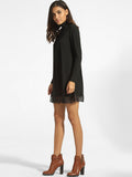 ByChicStyle High Neck Hollow Out Lace Plain Shift-dress - Bychicstyle.com