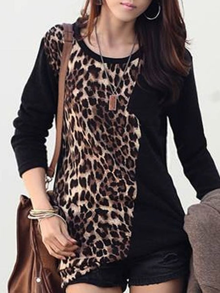 Leopard Printed Patchwork Long-sleeve-t-shirt - Bychicstyle.com