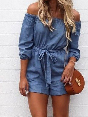 Streetstyle  Casual Ecstatic Cute Suit Bateau Off Shoulder Romper
