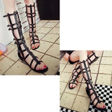 ByChicStyle Black Hollow Out Mid Calf Zipper Buckle Peep Toe Strappy Flat Roman Gladiators Sandals