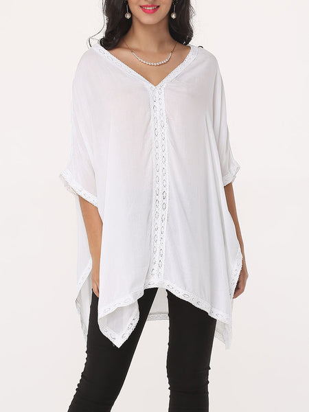 Lace Patchwork Plain Batwing Delightful Deep V Neck Blouse - Bychicstyle.com