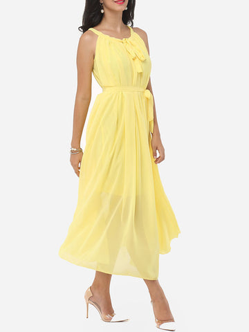 Casual Plain Bowknot Awesome Round Neck Maxi Dress