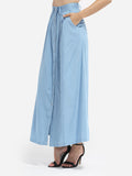ByChicStyle Loose Fitting Pockets Denim Plain Maxi-skirt - Bychicstyle.com