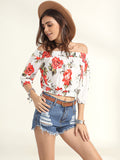 ByChicStyle Casual Puff Sleeve Off Shoulder Floral Printed Exposed Navel Blouse