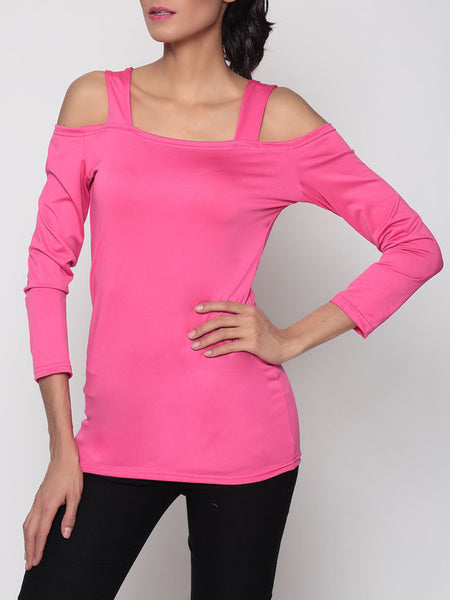 Hollow Out Plain Off Shoulder Long Sleeve T-shirt - Bychicstyle.com