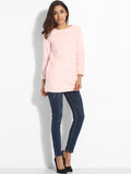 ByChicStyle Casual Pockets Round Neck Knit Plain Sweater
