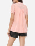 ByChicStyle Casual Puff Sleeve Band Collar Chiffon Hollow Out Plain Blouse