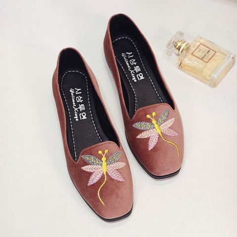 Casual Embroidery Dragonfly Flat Casual Shoes For Women