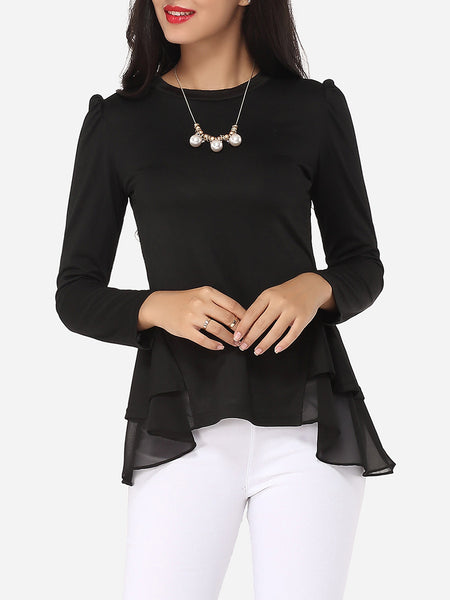 Plain Falbala Courtly Round Neck Long-sleeve-t-shirt - Bychicstyle.com