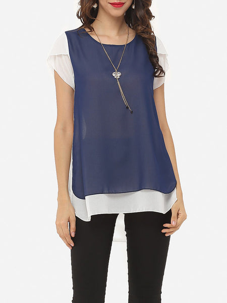 Color Block Charming Round Neck Blouse - Bychicstyle.com