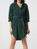 ByChicStyle Casual Turn Down Collar Bowknot Asymmetrical Hem Plain Shift Dress