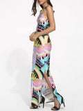 ByChicStyle Casual Round Neck Dacron Printed Split Maxi-dress
