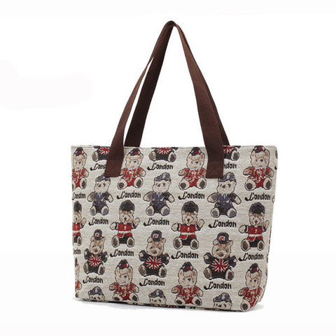 Casual Women Cute Bear Print Canvas Handbag Ladies Casual Elegant Zipper Shoulder Bag
