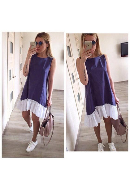 Casual Dark Blue Patchwork Ruffle Irregular Round Neck Fashion Mini Dress