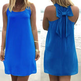 ByChicStyle Casual Dark Blue Plain Bow Round Neck Sleeveless Mini Dress