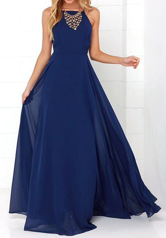 Casual Dark Blue Plain Grenadine Cross Back Backless Party Elegant Maxi Dress