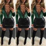 ByChicStyle Casual Dark Green Patchwork 2-in-1 V-neck Fashion Slim Mini Dress