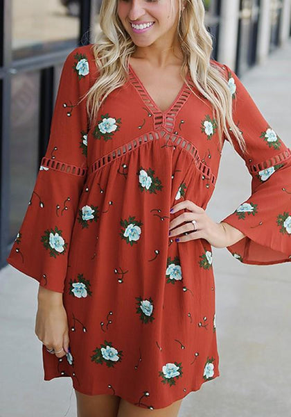 Casual Dark Orange Floral Print Draped Cut Out V-neck Casual Mini Dress