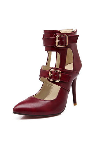 Casual Dark Red Point Toe Stiletto Buckle Fashion High-Heeled Shoes