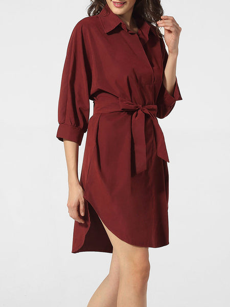 Bowknot Asymmetrical Hems Polo Collar Dacron Plain Shift Dress - Bychicstyle.com