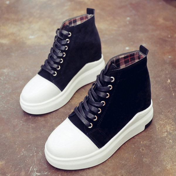 Casual Heel Increasing Platform Lace Up High Top Casual Shoes