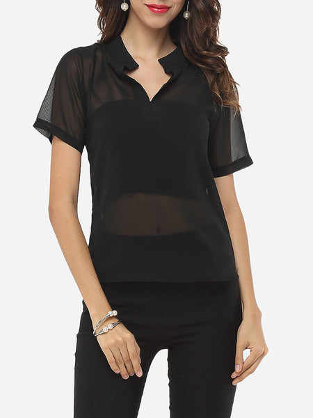 Hollow Out Plain Modern V Neck Blouse - Bychicstyle.com