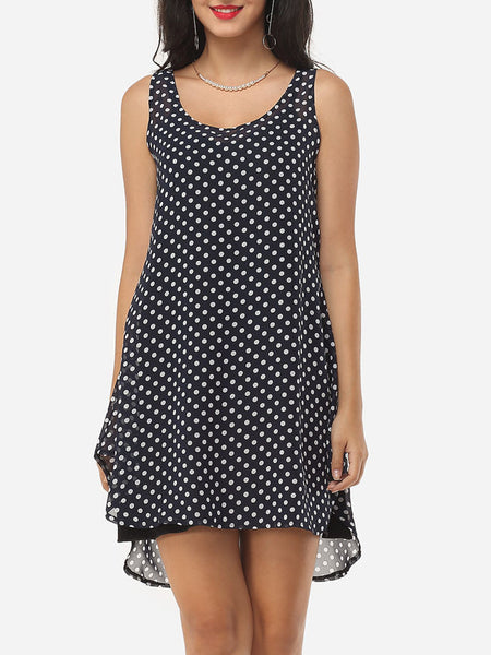 Casual Polka Dot Round Neck Shift Dress