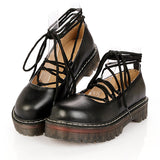 ByChicStyle Casual Retro Pu Lace Up Platform British Style Shoes