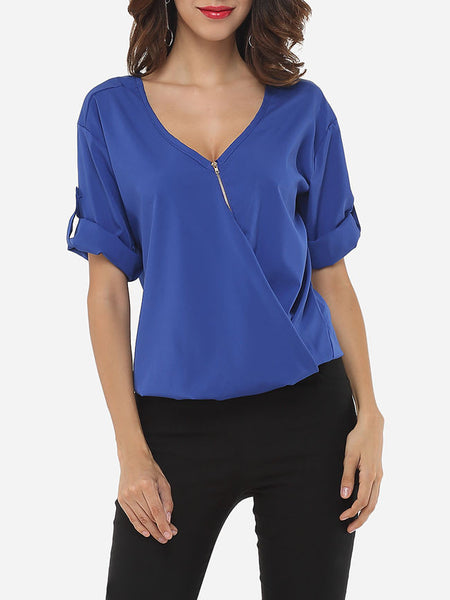 Plain Loose Fitting Zips Elegant V Neck Blouse - Bychicstyle.com