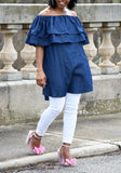 ByChicStyle Casual Denim Blue Plain Double-deck Ruffle Off-Shoulder Cute Teens Jean Mini Dress
